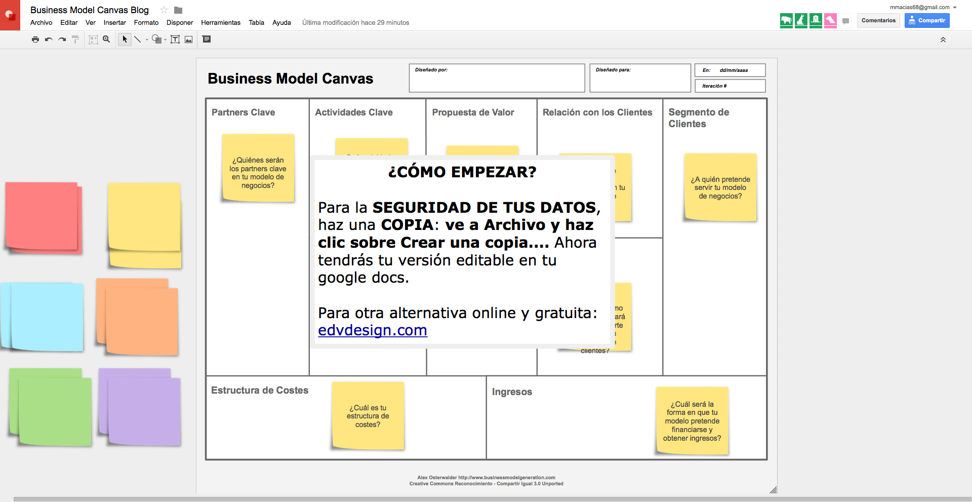 Crea Tu Business Model Canvas Con Google Docs